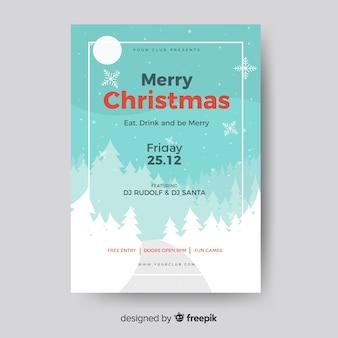 Weihnachtsfeier flyer landschaft vorlage