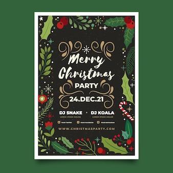 Weihnachtsfeier flyer mit gezeichneten elementen