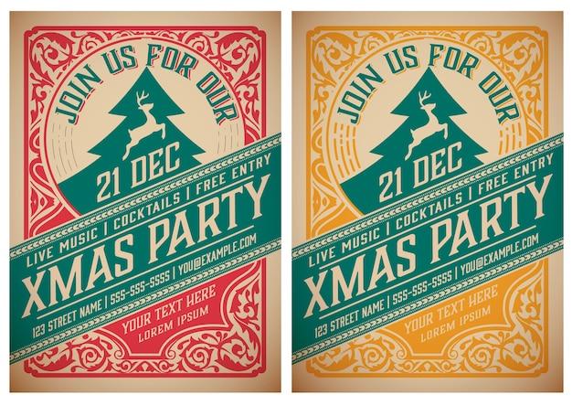 Weihnachtsfeier flyer retro typografie und ornament dekoration.