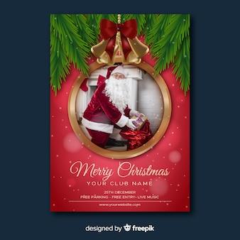 Weihnachtsfeier flyer und weihnachtsmann