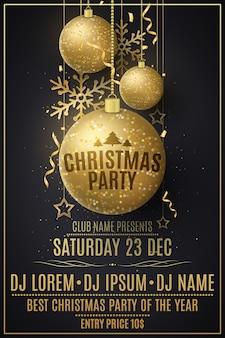 Weihnachtsfeier flyer vorlage. dekorationen aus glitzernden goldenen kugeln, sternen, schneeflocken.