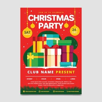 Weihnachtsfeier flyer vorlage im flachen design
