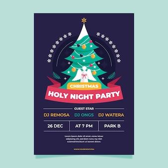 Weihnachtsfeier flyer vorlage mit gezeichneten elementen