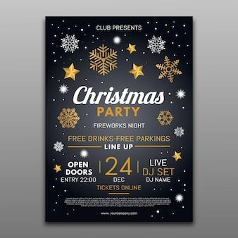 Weihnachtsfeier flyer vorlage mit illustrierten elementen
