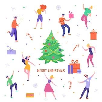 Weihnachtsfeier karte oder einladungsplakat. menschen charaktere tanzen, feiern frohe weihnachten und frohes neues jahr nacht.