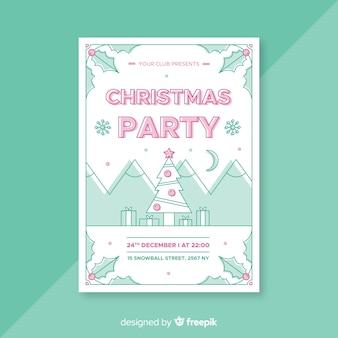 Weihnachtsfeier lineare weihnachtsbaum poster vorlage
