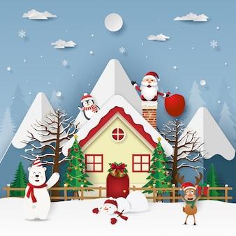 Weihnachtsfeier mit santa claus im kamin