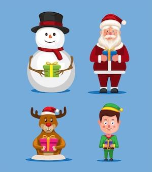 Weihnachtsfeier mit santa-schneemann-hirsch und elf-zeichensatz-illustrationsvektor