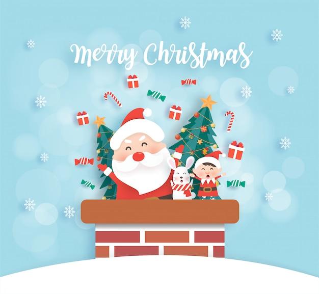 Weihnachtsfeier mit weihnachtsmann, hase und elfe im papierschnitt- und bastelstil.