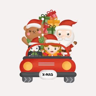 Weihnachtsfeier mit weihnachtsmann und freunden für grußkarten, einladungen.