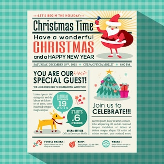 Weihnachtsfeier plakat in zeitungsstil laden