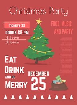 Weihnachtsfeier plakat oder flyer vorlage