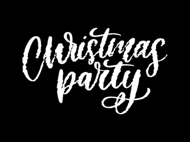 Weihnachtsfeier plakat vorlage. handgeschriebene schrift, glitzernde typografie.