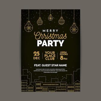 Weihnachtsfeier plakat vorlage im umriss-stil