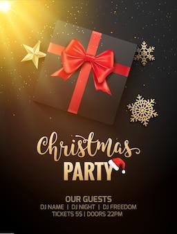 Weihnachtsfeier poster einladung dekoration geschenkbox. weihnachtsfeiertagschablonenhintergrund mit schneeflocken.