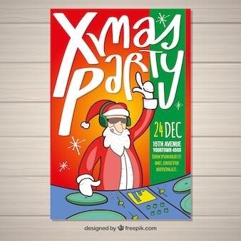 Weihnachtsfeier poster mit weihnachtsmann dj