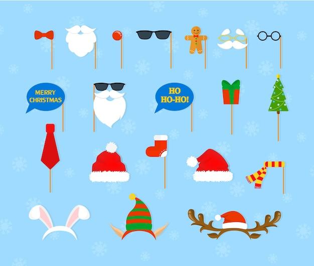 Weihnachtsfeier requisiten für photobooth set. sammlung von hut, maske und anderen dekorationen zum spaß. neujahrszubehör. flache vektorillustration