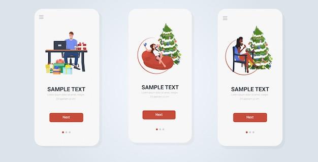 Weihnachtsfeier smartphone bildschirme sammlung