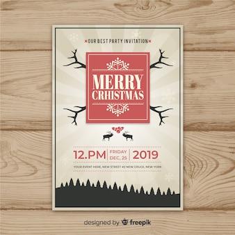 Weihnachtsfeier sunburst vintage flyer vorlage