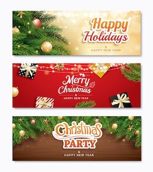 Weihnachtsfeier und grußkarte mit weihnachtsdekoration