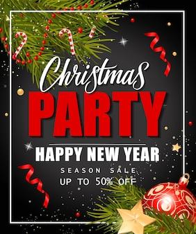 Weihnachtsfeier und saison sale schriftzug