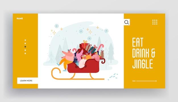 Weihnachtsfeier und winterferien website landing page. glückliche charaktere, die santa claus schlitten voller geschenke reiten. santa helpers festliche grüße. webseiten-banner. cartoon wohnung