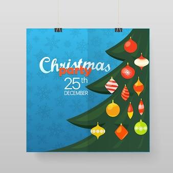 Weihnachtsfeier-vektorplakat. partyankündigung