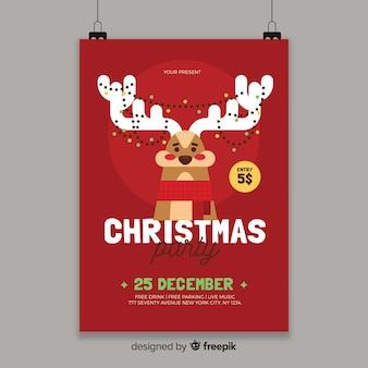 Weihnachtsfeier verwirrt rentier flyer vorlage