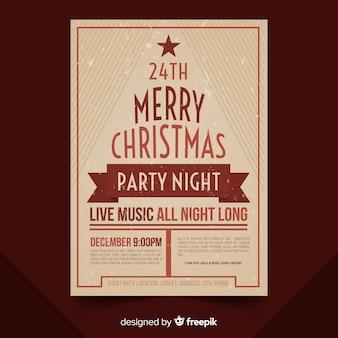 Weihnachtsfeier vintage brief baum poster vorlage