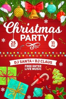 Weihnachtsfeier, winterferienfeierplakat. weihnachtsfeier live-musik-party und weihnachtsgeschenke, weihnachtsdekorationen, goldene sterne und kugeln, schneeflocken und konfetti mit stechpalme und zuckerstangen