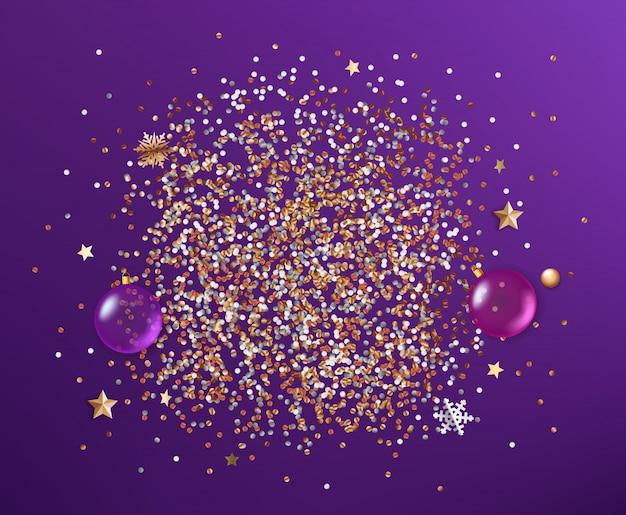 Weihnachtsfeier zusammensetzung. verschiedene elemente auf violettem hintergrund