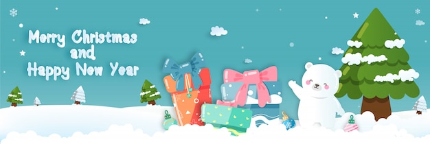 Weihnachtsfeiern mit niedlichen weißen bären. vektorabbildung - vektor