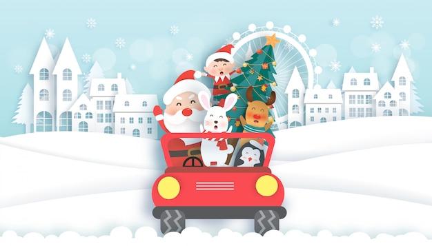 Weihnachtsfeiern mit santa und niedlichen tieren auf einem auto für weihnachtskarte
