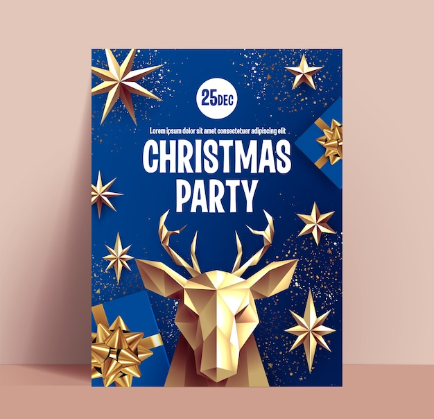 Weihnachtsfeierplakat oder flieger- oder fahnenentwurfsschablone mit goldener weihnachtsdekoration auf klassischem blauem hintergrund