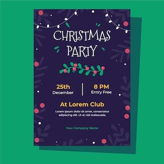 Weihnachtsfeierplakatschablone im flachen design