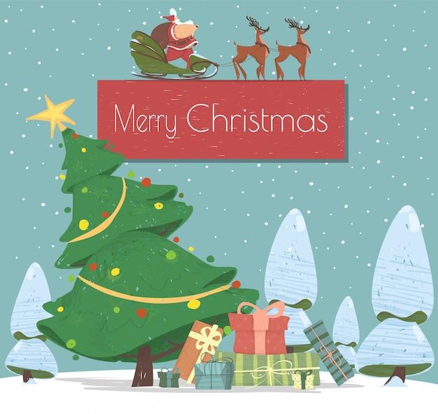 Weihnachtsfeiertags-cartoon-gruß-karte