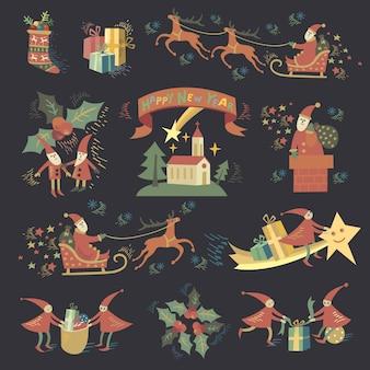 Weihnachtsfeiertags-jahreszeit-klipp-kunst-aufkleber-illustrationen