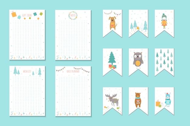 Weihnachtsfeiertags-listen, planer, süße notizen mit wintervektorillustrationen. vorlage für partyorganisation, gruß- und journalkarten, einladungen, geschenkdekoration, schreibwaren.