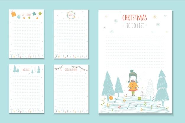 Weihnachtsfeiertags-listen, süße notizen mit wintervektorillustrationen. vorlage für partyorganisation, gruß- und journalkarten, einladungen, geschenkdekoration, schreibwaren.