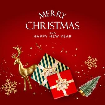 Weihnachtsfeiertags-party-hintergrund. frohes neues jahr und frohe weihnachten-plakat-vorlage. vektorillustration