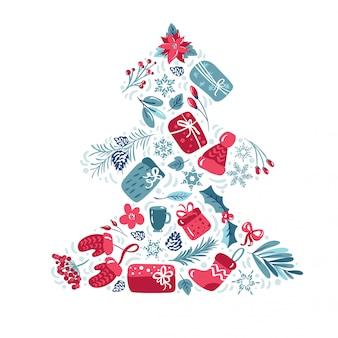 Weihnachtsfeiertagsdekoration mit blattgeschenken, blumen