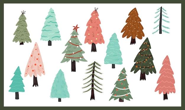 Weihnachtsfeiertagsfeier design sammlung set aufkleber weihnachtsbaum