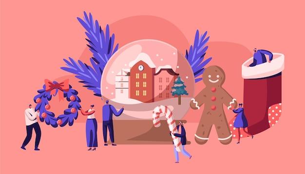 Weihnachtsfeiertagsfeier-konzept-karikatur-flache illustration