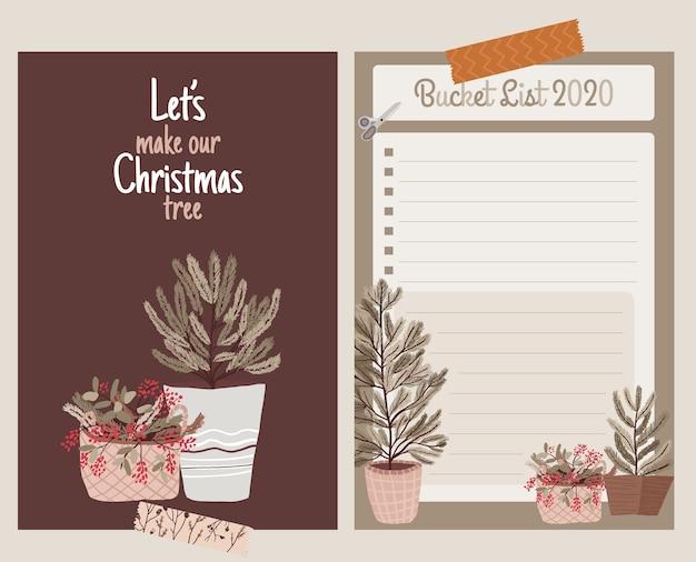 Weihnachtsfeiertagsfeier sammlung set aufkleber, tagebuch, notizen, eimer liste