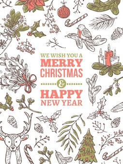 Weihnachtsfeiertagsgrußkarte. festliches banner oder plakat mit linearen gekritzelillustrationen. vertikale hintergründe der gezeichneten skizze des guten rutsch ins neue jahr