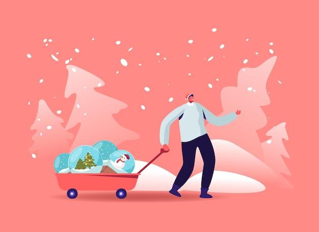 Weihnachtsfeiertagsillustration mit dem mann, der ein auto mit weihnachtskugeln zieht