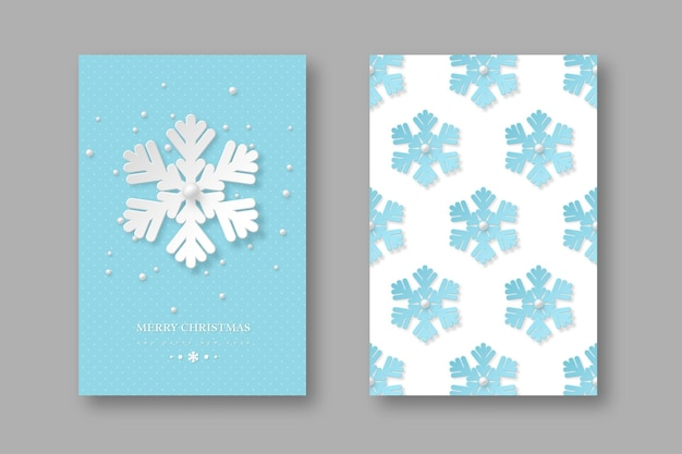Weihnachtsfeiertagsplakate mit schneeflocken im papierschnittstil. blauer gepunkteter hintergrund mit grußtext, vektorillustration.