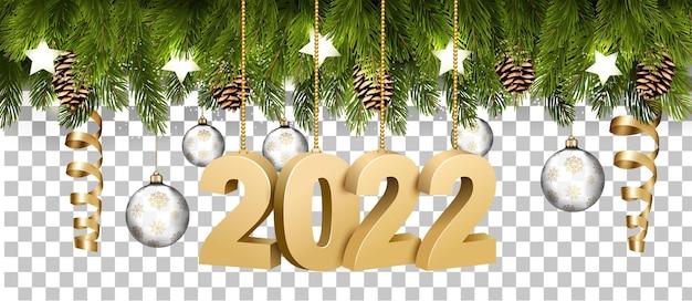 Weihnachtsfeiertagsrahmen mit zweigen der baumgirlande und einem golg 2022 würfe auf transparentem hintergrund. vektor.