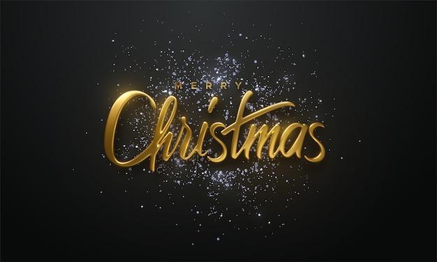 Weihnachtsfeiertagsschild mit glitzernden silbernen konfetti. 3d-illustration
