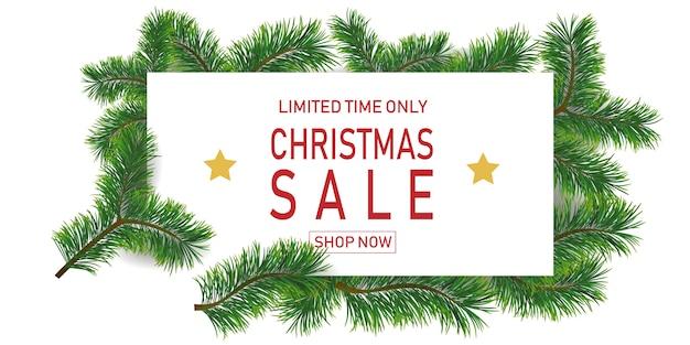 Weihnachtsfeiertagsverkauf mit tannenzweigen. nur für begrenzte zeit. vorlage für ein banner, einkaufen, rabatt.